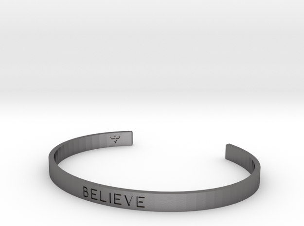 Believe Engrave Bracelet Sizes S-L in Polished Nickel Steel: Small