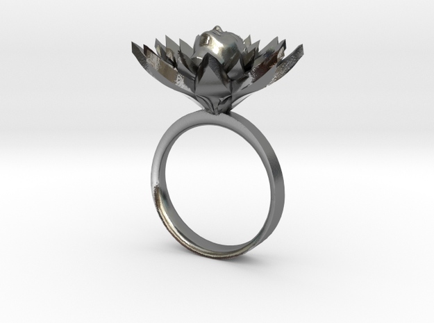 Lotus Ring in Polished Silver