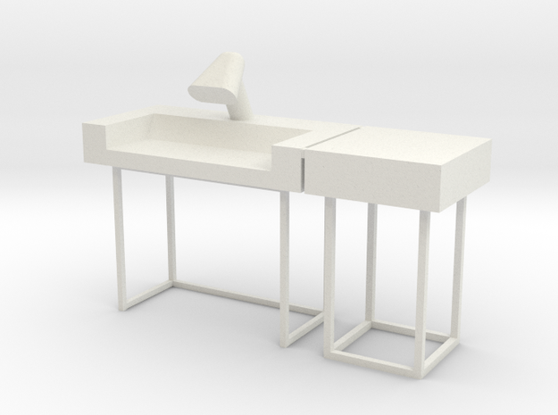 Main Mission Desk w RH Wing S1 (Space: 1999) 1/30 in White Natural Versatile Plastic