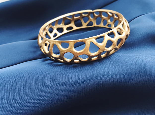Bracelet Voronoy  in Polished Gold Steel