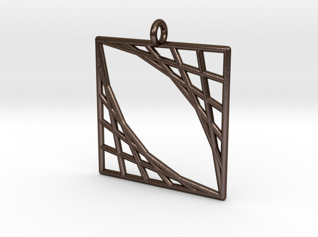 Oblique Grid Pendant in Polished Bronze Steel