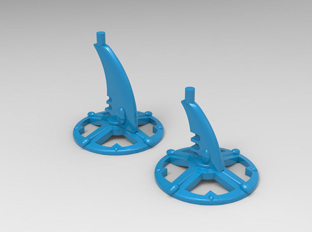 6 Bases for Eldar Cruisers and Escort Ships in Blue Strong & Flexible Polished