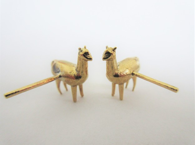 Alpaca Studs in Raw Brass