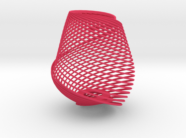 Lampshade twisted Mobius in Pink Processed Versatile Plastic: Small