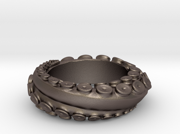 Octo Ring S10 in Polished Bronzed Silver Steel
