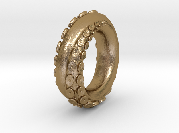 Octopus ring S13  in Polished Gold Steel: 13 / 69