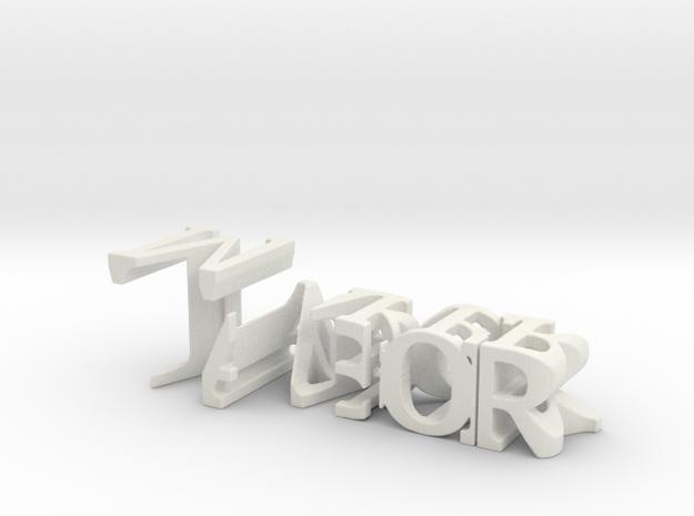 3dWordFlip: Tabor/Maker in White Natural Versatile Plastic