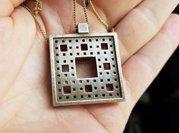 Square Fractal Pendant in Polished Bronzed Silver Steel