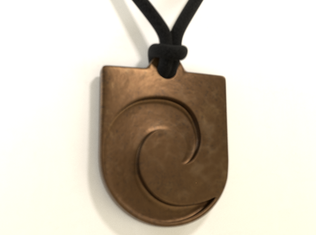 Inverted Waveguard Pendant in Polished Bronze Steel