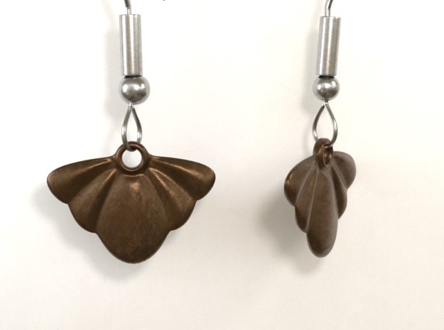 Seashell Earring Set in Polished Bronze Steel