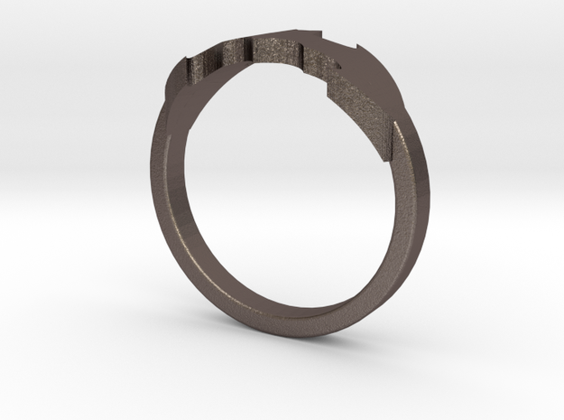 BATRING Size 9 in Polished Bronzed Silver Steel