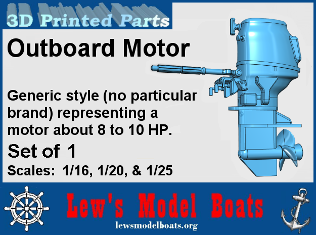 8 to 10HP Outboard Motor (generic style) in Smooth Fine Detail Plastic: 1:20