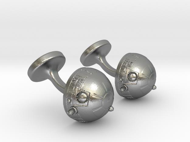 R2-D2 Cufflinks in Natural Silver
