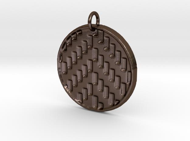 Herringbone Pendant in Polished Bronze Steel