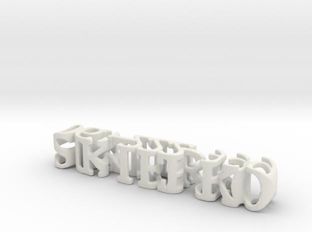 3dWordFlip: sikterko /063-222-999 in White Natural Versatile Plastic