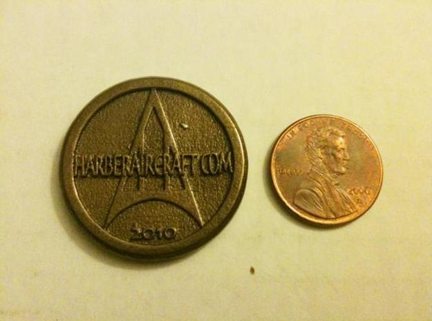 Harber Aircraft logo coin 3d printed Penny comparison 1