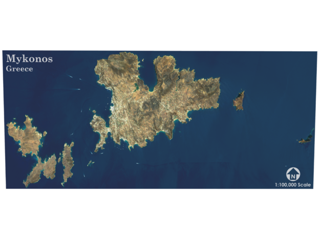 Mykonos Map, Greece in Coated Full Color Sandstone