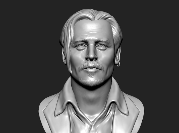 3D Sculpture of Johnny Depp in White Strong & Flexible