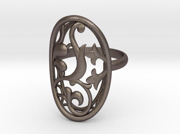 Engagement / Wedding Flower ring RWS000100001 in Stainless Steel: 4 / 46.5