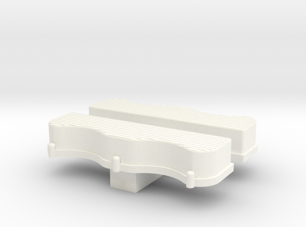 1/24 Scale W-Block Valve Cover Ribbed in White Processed Versatile Plastic