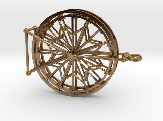 Rotating Ferris Wheel Star Keepsake Charm in Interlocking Raw Brass