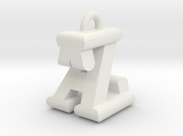 3D-Initial-AZ in White Natural Versatile Plastic