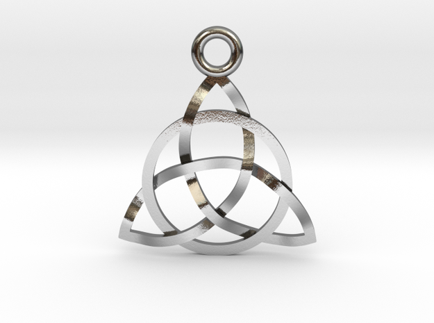 "Triquerta Pendant 1"" in Polished Silver"