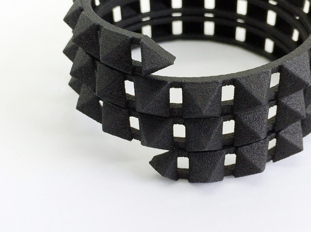 Urban Chic - Rivet Wrap Cuff Bracelet in Black Strong & Flexible