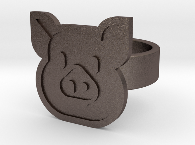 Pig Ring in Polished Bronzed Silver Steel: 8 / 56.75