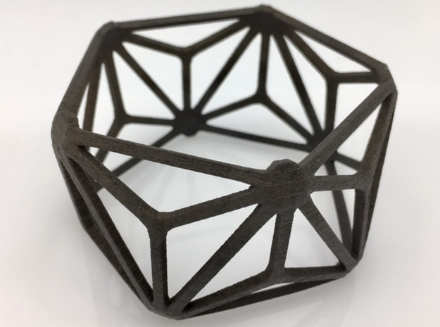 Catalan Bracelet - Triakis Icosahedron in Matte Black Steel: Medium