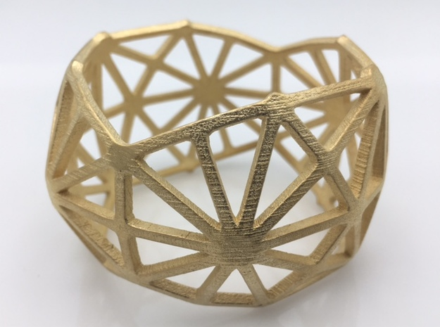 Catalan Bracelet - Disdyakis Triacontahedron in Polished Gold Steel: Medium