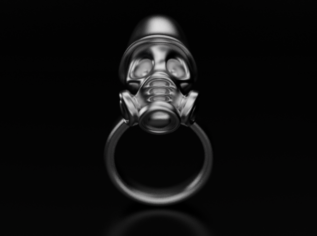 Gas Mask Skull Ring in Stainless Steel