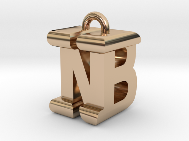3D-Initial-BN in 14k Rose Gold Plated