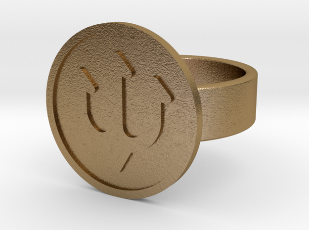 Trident Ring in Polished Gold Steel: 10 / 61.5