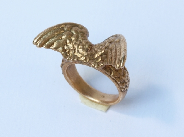 Winged Ring  in Raw Bronze