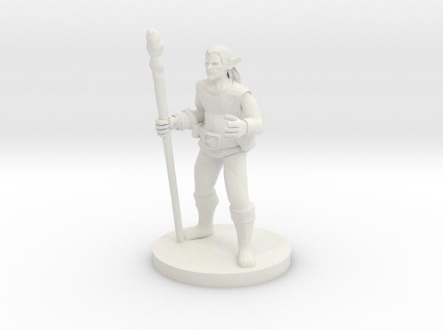 Male Elf Druid in White Natural Versatile Plastic