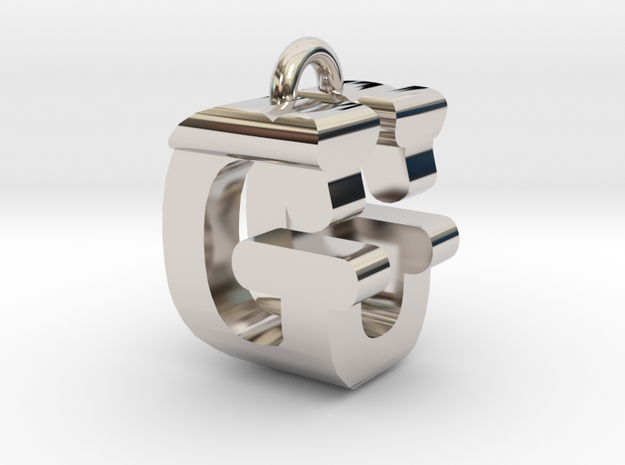 3D-Initial-GU in Rhodium Plated Brass