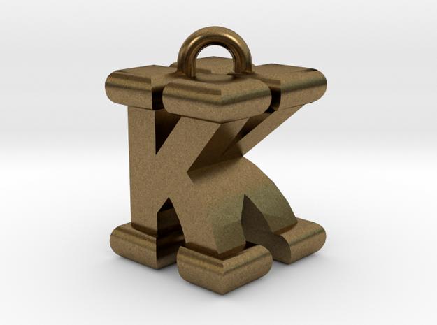 3D-Initial-KK in Raw Bronze
