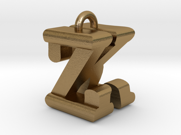 3D-Initial-KZ in Polished Gold Steel