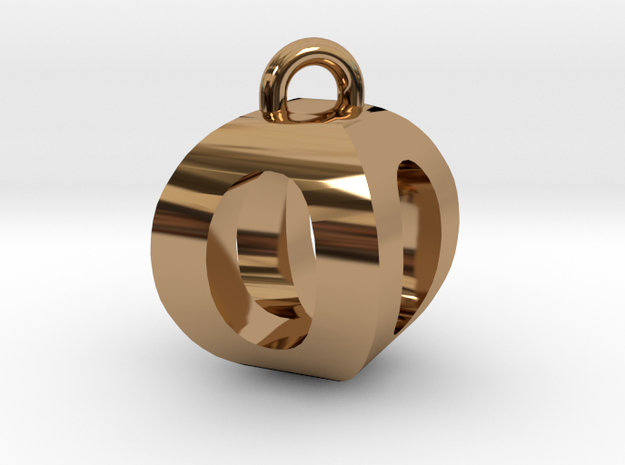3D-Initial-OO in Polished Brass