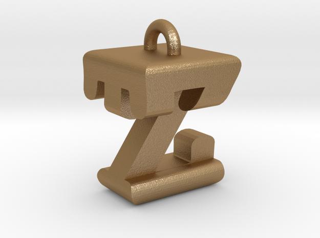 3D-Initial-TZ in Matte Gold Steel