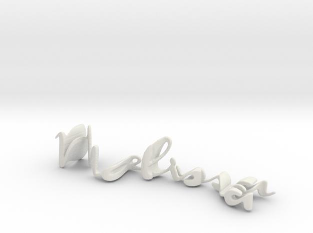 3dWordFlip: Melissa/Nish in White Natural Versatile Plastic