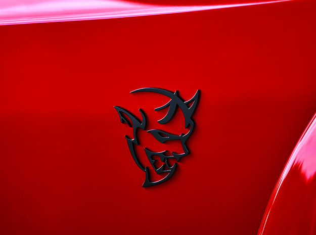 Dodge Demon Challenger Charger Car Badge in Matte Black Steel