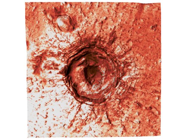 Mars Map: Crater in Phlegra Dorsa - Red in Coated Full Color Sandstone