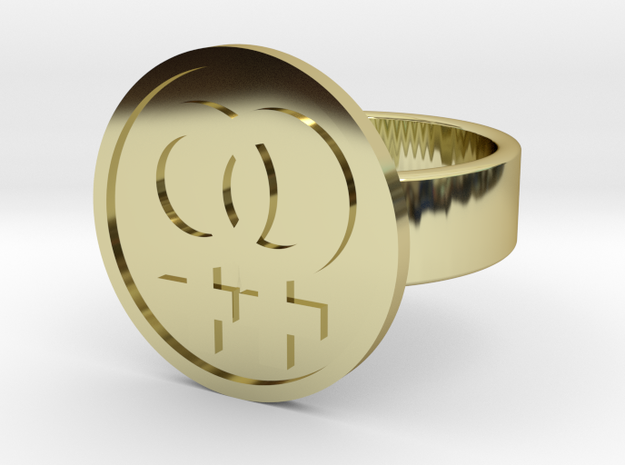 Double Female Ring in 18k Gold Plated Brass: 10 / 61.5