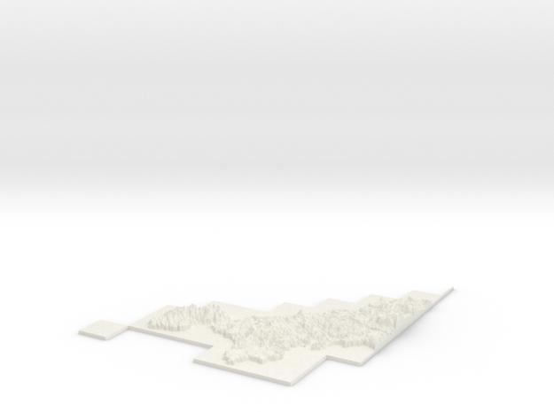 W100 S0 E200 N100 Cornwall Area in White Natural Versatile Plastic