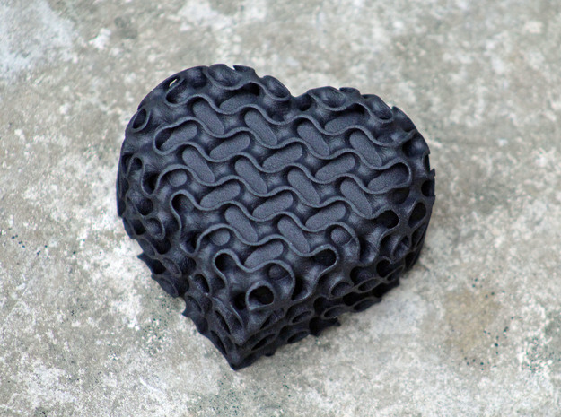 Gyroid Heart Box With Lid in Black Strong & Flexible
