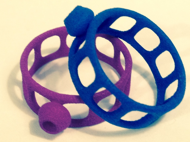 Wired Button Ring 3d printed 2 at once!!