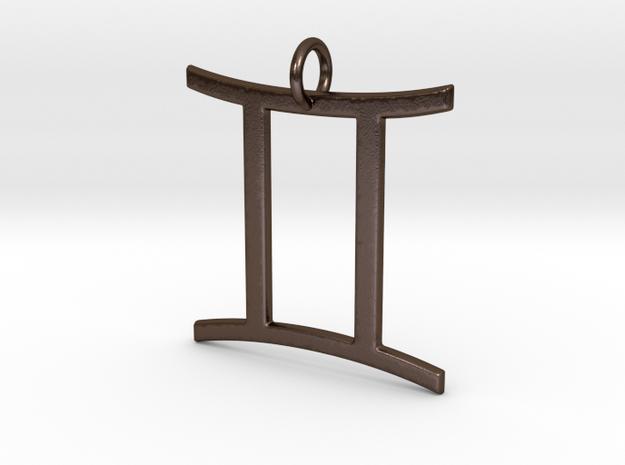 Gemini Pendant in Polished Bronze Steel