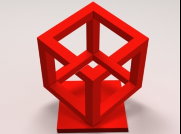 Impossible Cube in Red Processed Versatile Plastic